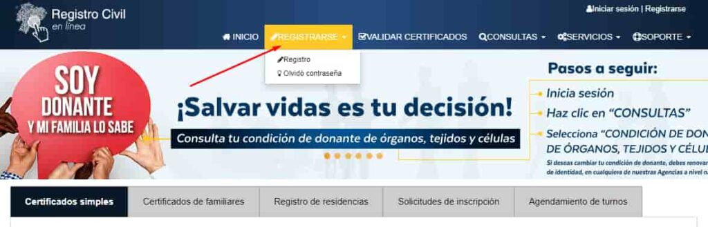 pagina registro civil en linea