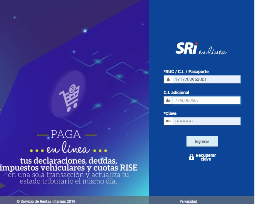 LOGIN SRI EN LINEA
