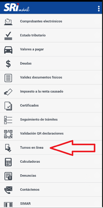 turnos en linea app movil sri