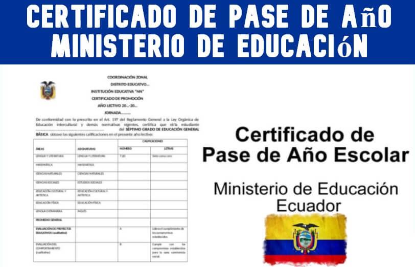 Certificado de Pase de Año Ministerio de Educacion